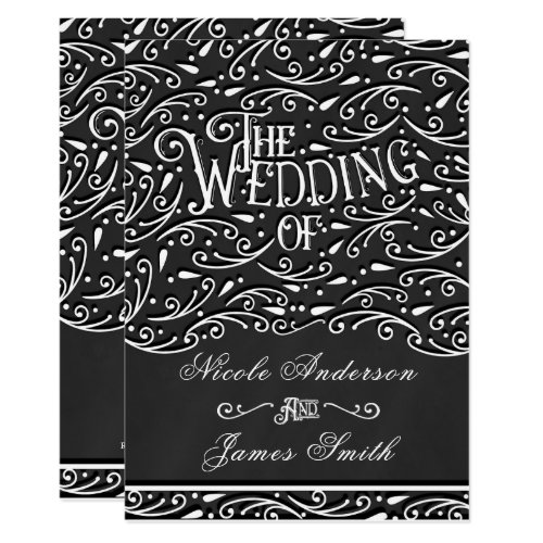 Black & White Chalk Vintage Ornament Wedding Invitation