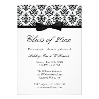 Black White Damask Bow Graduation Announcement