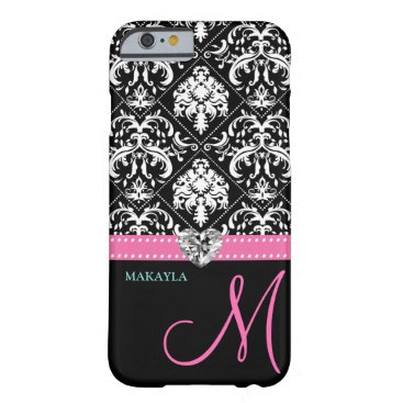 Black & White Damask with Diamond Heart & Monogram Barely There iPhone 6 Case