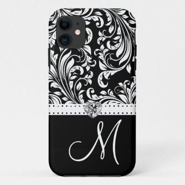 Black & White Damask with Diamond Heart & Monogram iPhone 11 Case