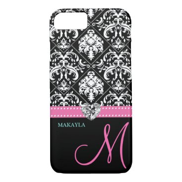Black & White Damask with Diamond Heart & Monogram iPhone 7 Case