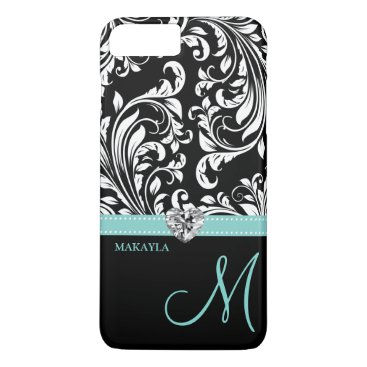 Black & White Damask with Diamond Heart & Monogram iPhone 8 Plus/7 Plus Case