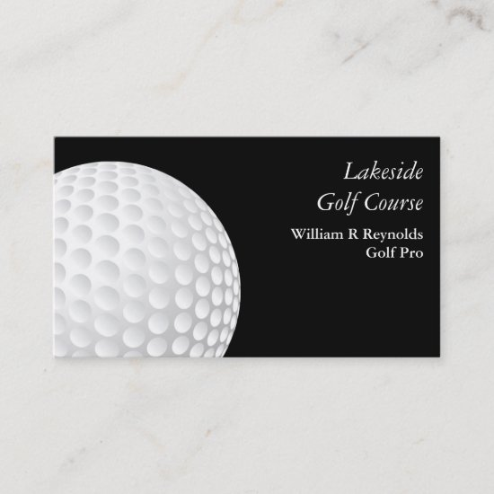 Black White Golf Pro Business Card