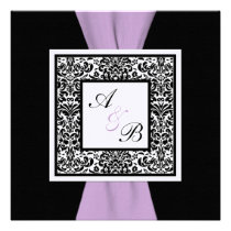 Black White Lavender Damask PRINTED RIBBON Announcement