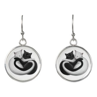 Black & White Love Cats Earrings