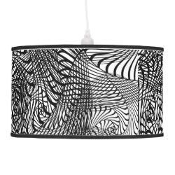 Black White Mix Modern Zen-tangle Style Patterned Hanging Lamps