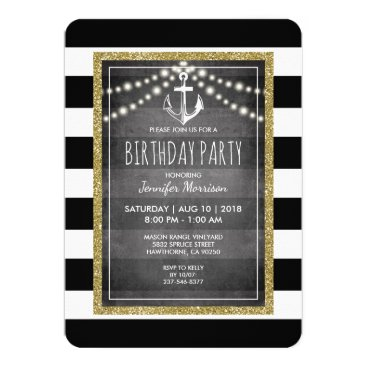 Black White Nautical Stripe Birthday Party Invitation