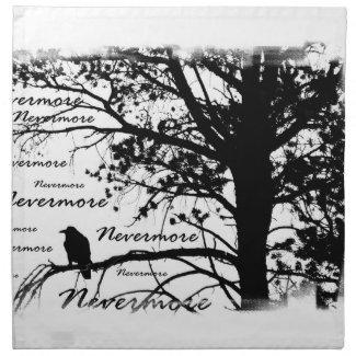 Black & White Nevermore Raven Silhouette Napkin