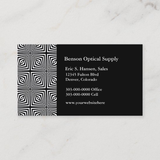 Black White Optical Illusion Business Card