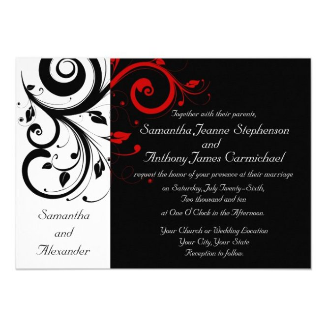 Black White Red Reverse Swirl Wedding