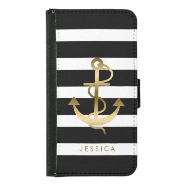 Black & White Stripes Gold Nautical Boat Anchor 2 Samsung Galaxy S5 Wallet Case