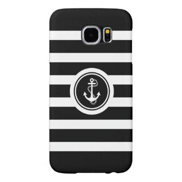 Black & White Stripes Nautical Anchor Samsung Galaxy S6 Case