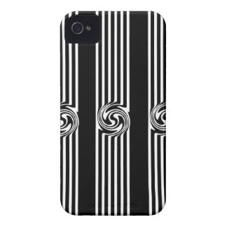 Black & White Swirl Burst iPhone 4 Cases