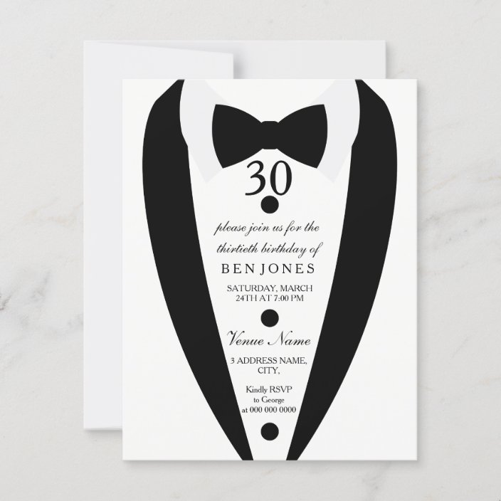 black white tuxedo mens 30th birthday invitation zazzle com