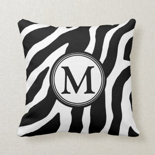 Black White Zebra Monogram Decorative Pillow