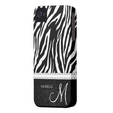 Black & White Zebra stripes with Black damask iPhone 4 Case
