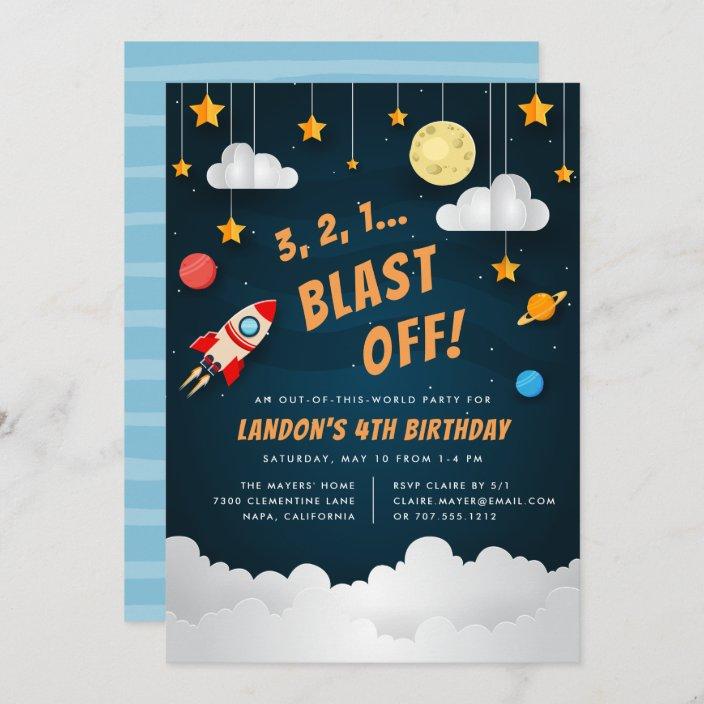 blast off outer space birthday party invitation zazzle com