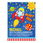 Fun Colorful Blast Off Space Rocket Ship Birthday Invitation