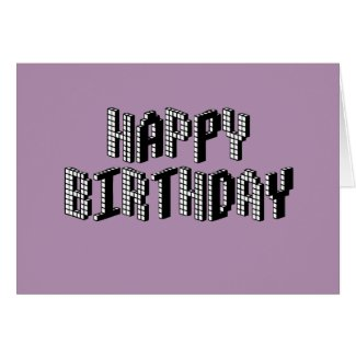 Blocks Happy Birthday (Lavender) Greeting Cards