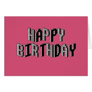 Blocks Happy Birthday (Pink) Card