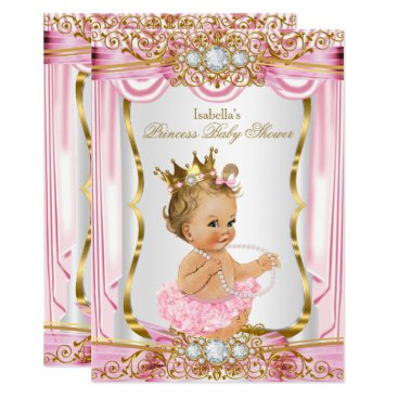 Blonde Girl Princess Baby Shower Pink Silk Gold Invitation