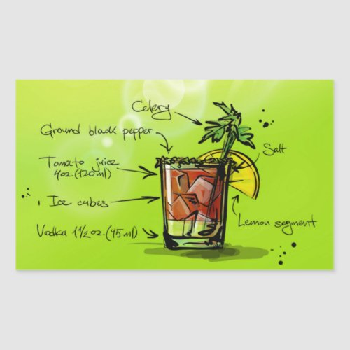Bloody Mary Recipe - Cocktail Gift Rectangular Sticker