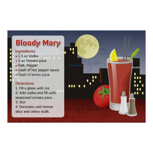 Bloody Mary Recipe Poster