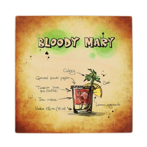 Bloody Mary Wooden Coaster