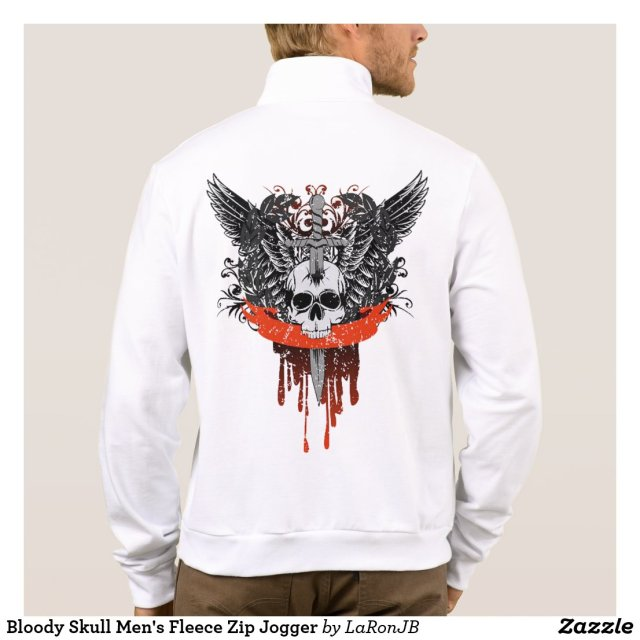 Bloody Skull Men's Fleece Zip Jogger Jacket