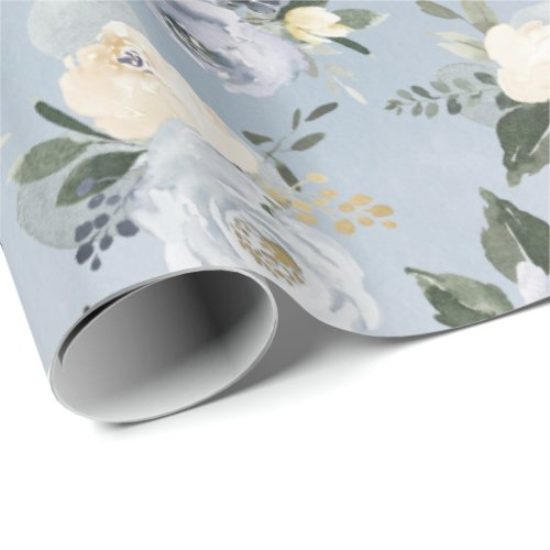 Blooming botanical dusty blue watercolor floral wrapping paper