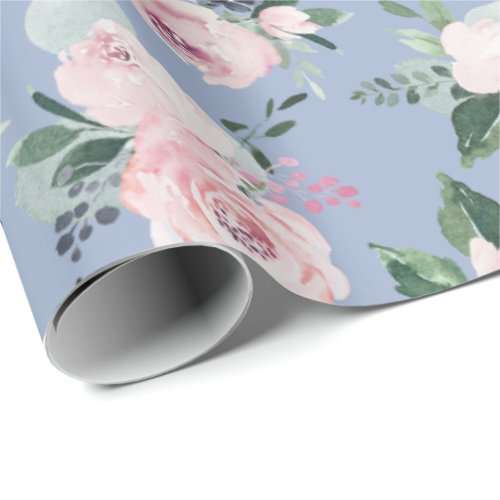 Blooming botanical pink and blue watercolor floral wrapping paper