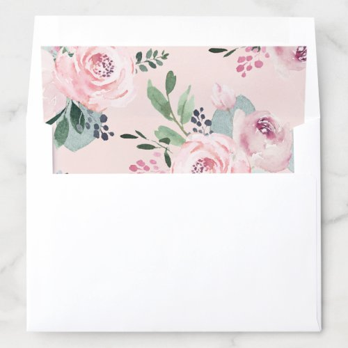 Blooming botanical pink watercolor floral envelope liner