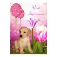 Blossoms Balloons & Labrador Puppy Event Card