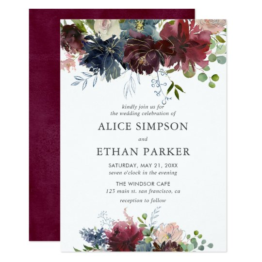 Blue And Burgundy Watercolor Fl Wedding Invitation