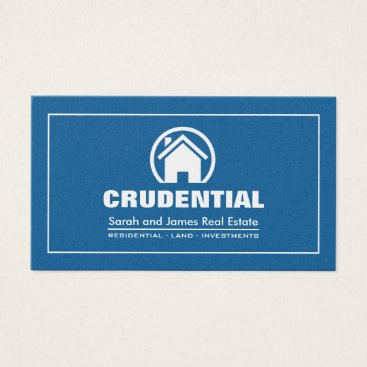 Blue and Silver Professional Real Estate Broker Business Card