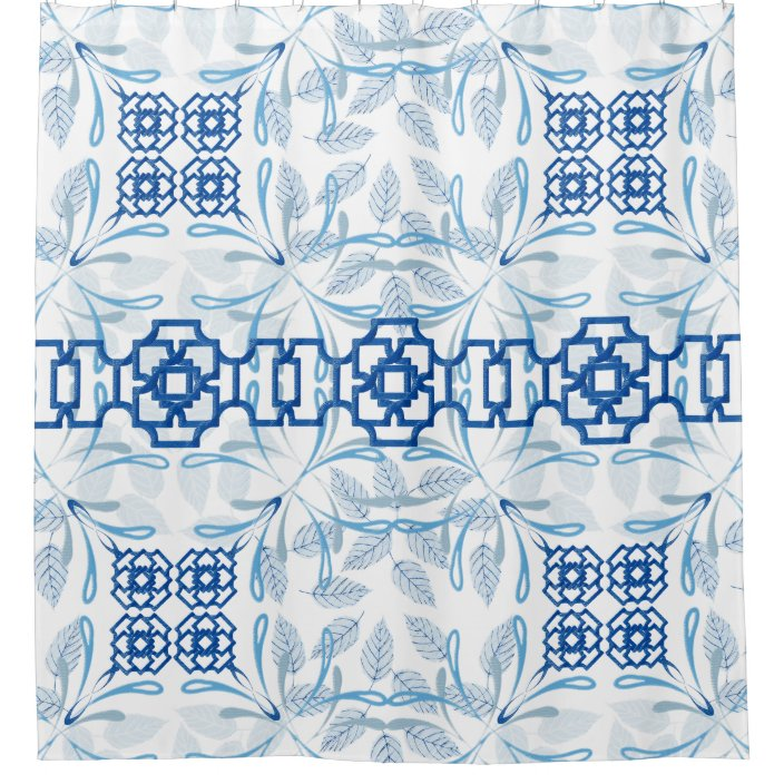 blue and white geometric floral chinoiserie shower curtain zazzle com