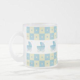 Blue and Yellow Baby Carriage Frosted Glass Mug mug