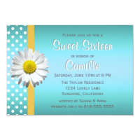 Blue and Yellow Daisy Sweet Sixteen Card
