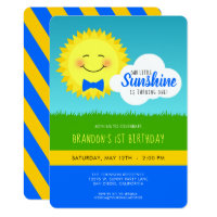 Blue and Yellow Sunshine Birthday Party Invitation