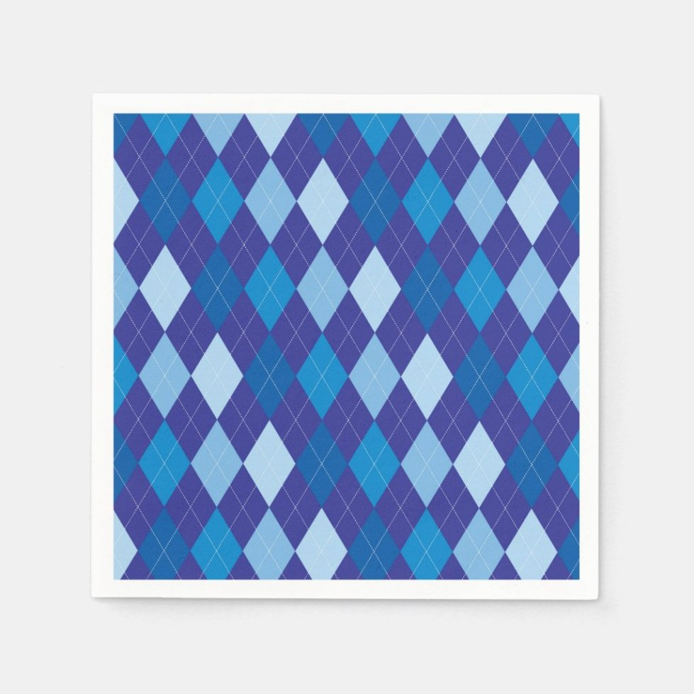 Blue argyle pattern napkin