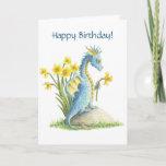❤️ Sweet Blue Dragon & Daffodils Spring Birthday Card
