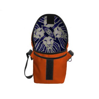Blue&Black Cream Abstract Lion Inside Print Bag Messenger Bag