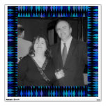 blue black pattern photo frame wall decal