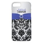 Blue, Black, Silver Damask iPhone 7 Case