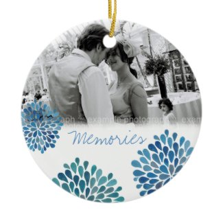 Blue Bloom Bursts Wedding Love Photo Ornament