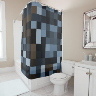 blue check gingham shower curtains zazzle