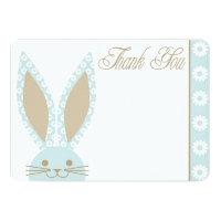 Blue Bunny Rabbit Thank you card