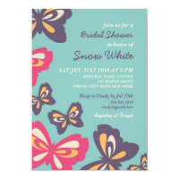 Blue Butterfly Bridal Shower Wedding Invitation