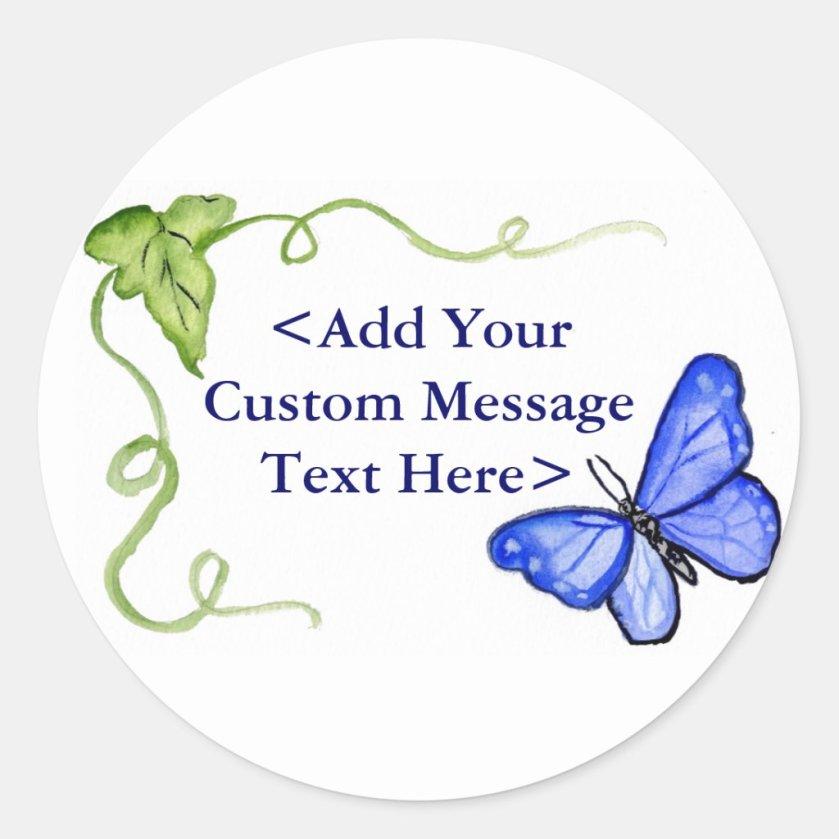Blue Butterfly & Green Vine Label Stickers