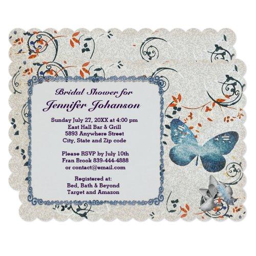 Blue Butterfly & Leaf Swirls Bridal Shower Invite